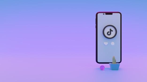 텍스트를 위한 휴대폰 공간이 있는 tiktok 로고의 3d 렌더링