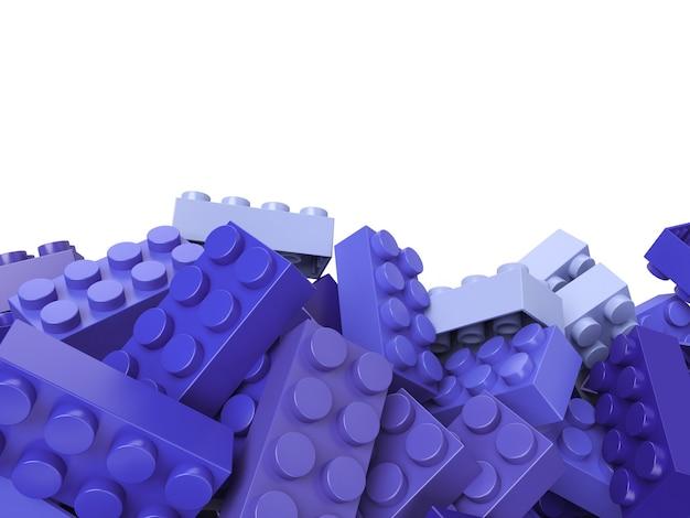 복사 공간이 많은 라일락 그늘에서 장난감 건물 벽돌의 3d 렌더링