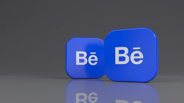 3d-рендеринг двух квадратных значков behance на сером фоне