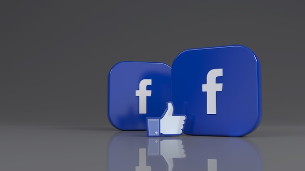 3d-рендеринг двух квадратных значков facebook и одного значка лайка на сером фоне