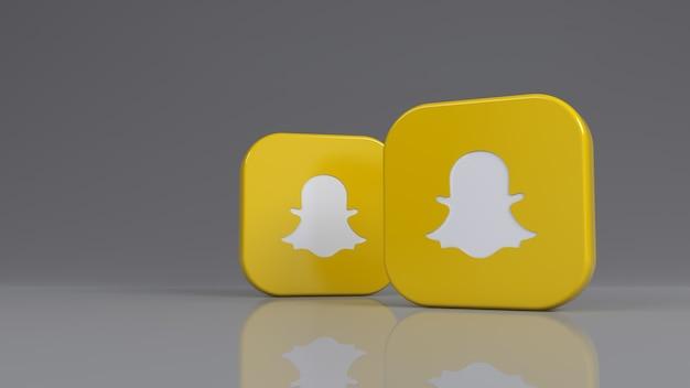 3d-рендеринг двух квадратных значков snapchat на сером фоне Premium Фотографии