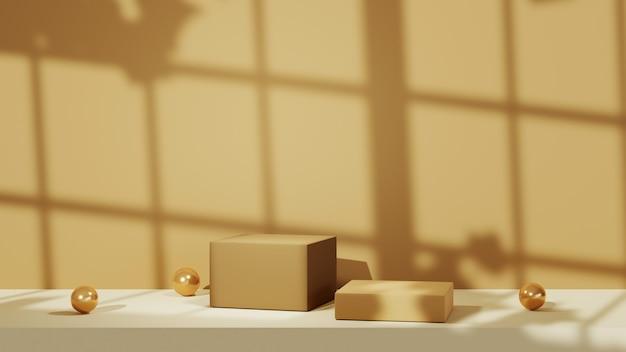 갈색 방에 있는 두 개의 정사각형 연단의 3d 렌더링. 창 배경에서 그림자입니다. 쇼 제품에 대한 모형.