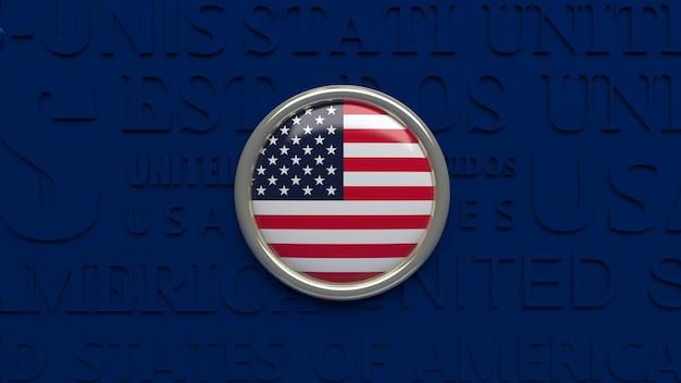 アメリカ合衆国の国旗の3dレンダリング