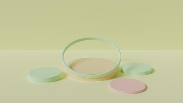 제품 표시를위한 다양한 연단의 3d 렌더링.
