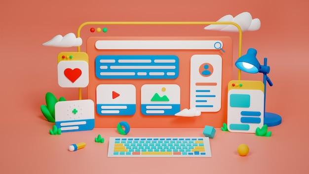 3d-рендеринг веб-дизайна и иллюстрации разработки программного обеспечения. премиум фото