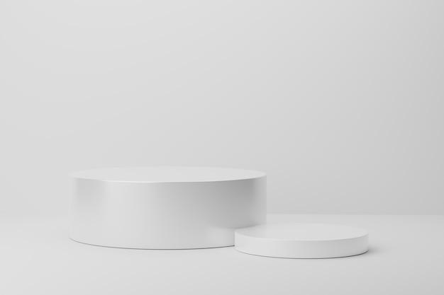 灰色の背景に白い円の表彰台の3dレンダリング
