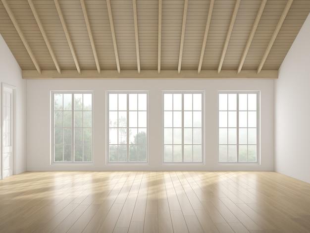 3d-рендеринг белой пустой комнаты с деревянным полом и солнечным светом отбрасывает тень на стену. окна и природа фон.