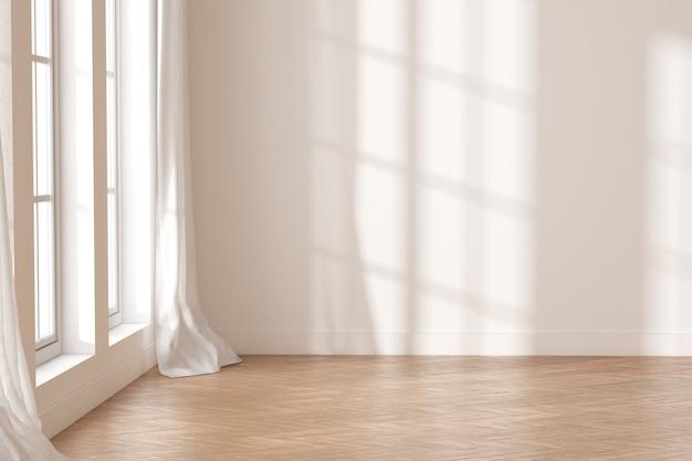 3d-рендеринг белой пустой комнаты с деревянным полом и солнечным светом отбрасывает тень на стену.