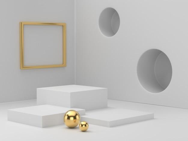 명확 하 게 배경, 뷰티 화장품에 대 한 추상 최소한의 연단 빈 공간에 화이트 골드 받침대 연단의 3d 렌더링