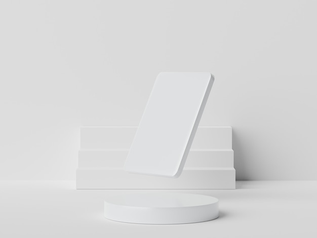 白い大理石の3dレンダリングは、モックアップ用の表彰台シーンと最小限の背景での製品プレゼンテーションを表示します。