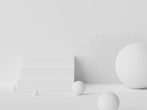 흰색 대리석의 3d 렌더링은 최소한의 배경으로 모의 및 제품 프레젠테이션을위한 연단 장면을 표시합니다.