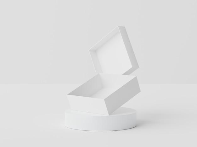 3d-рендеринг белого мрамора отображает сцену подиума для макета и презентации продуктов с минимальным фоном.