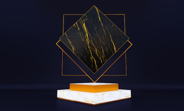 黒の背景、豪華なシンプルなモックアップに分離された白い大理石の台座の3 dレンダリング