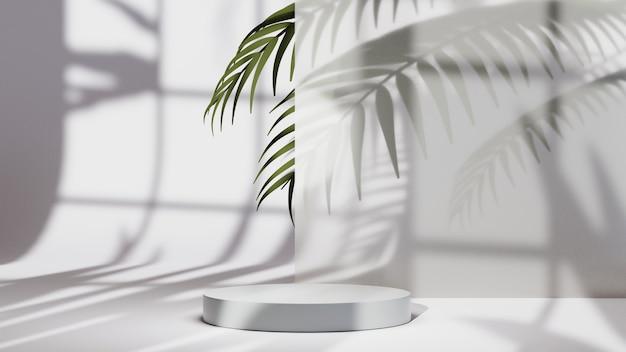 ディスプレイ用の白い表彰台の3dレンダリングは、葉の背景で背景を飾ります。ショー製品のモックアップ。