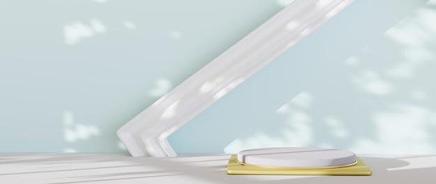 파란색 방 배경에서 제품 및 사진 프레임을 표시하기 위한 흰색 연단의 3d 렌더링. 쇼 제품에 대한 모형.