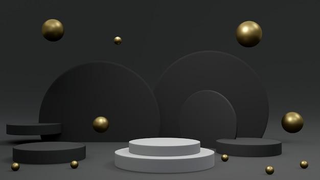 검은색과 금색 요소 배경에 흰색 연단 제품 프레젠테이션 디스플레이 스탠드의 3d 렌더링