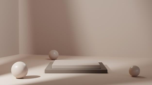 흰색 방 배경에 제품을 표시하기 위한 회색 베이스가 있는 흰색 연단의 3d 렌더링. 쇼 제품에 대한 모형.
