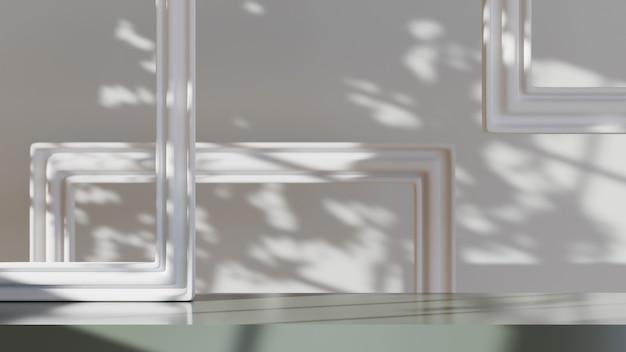 제품 배경을 표시하기 위한 그림 프레임으로 장식된 화이트 룸의 3d 렌더링. 쇼 제품을 위해. 빈 장면 쇼케이스 모형.
