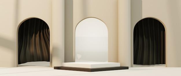 제품 및 창 그림자 배경을 표시하기 위한 흰색 사각형 연단의 3d 렌더링. 쇼 제품에 대한 모형.