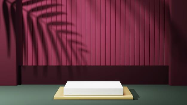 골드 베이스와 잎 그림자 배경이 있는 흰색 사각형 연단의 3d 렌더링. 쇼 제품에 대한 모형.