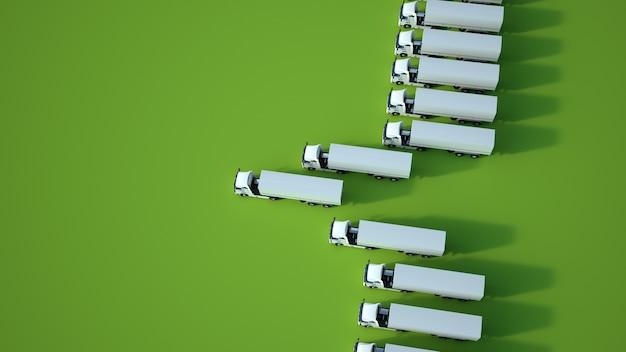 緑の表面、空中写真に対する白いトラックの3dレンダリング
