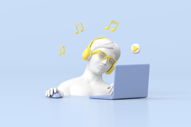 3d-рендеринг женской скульптуры использует синий ноутбук с желтыми наушниками, музыкальную концепцию.