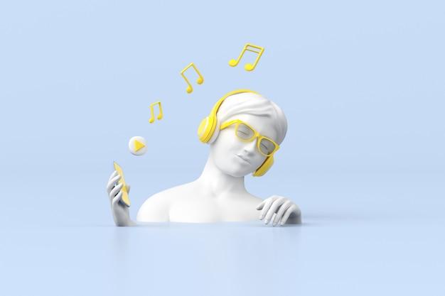 3d-рендеринг женской скульптуры использует синий смартфон с желтыми наушниками, музыкальную концепцию.