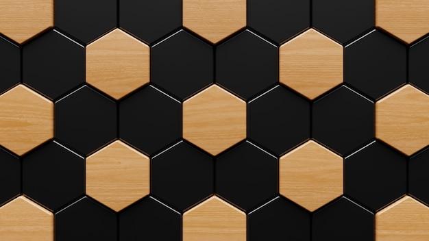 木とセラミックの六角形の壁の3dレンダリング