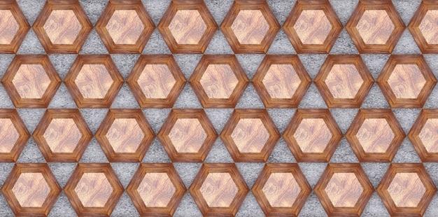 3d-рендеринг деревянных шестигранных стеновых панелей.
