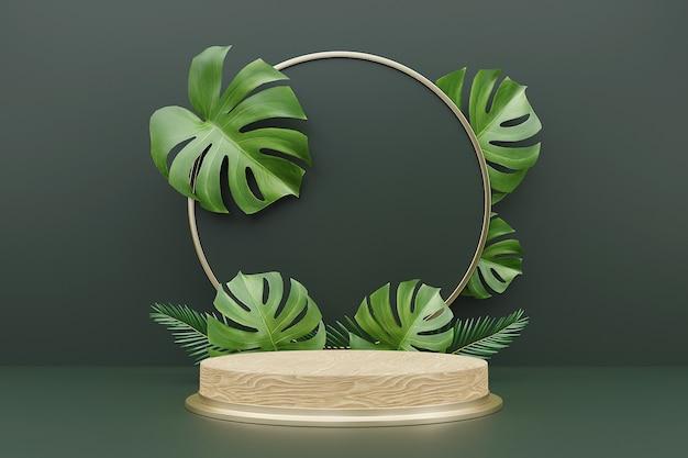 3d-рендеринг деревянного подиума для демонстрации продукта с листьями монстеры.