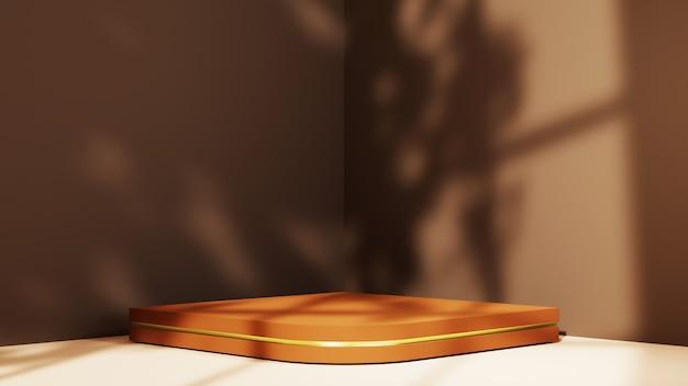 갈색 방 구석에 제품을 표시하기 위한 나무 연단의 3d 렌더링. 그리고 창 배경의 그림자. 쇼 제품에 대한 모형.