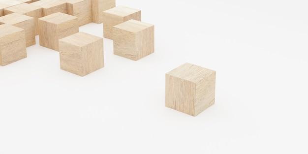 나무 장난감 블록의 3d 렌더링입니다.
