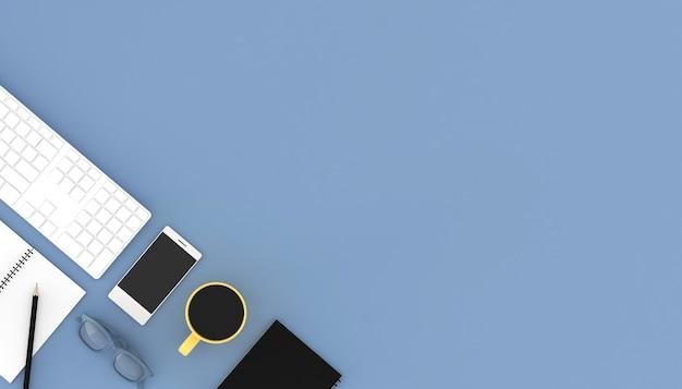 액세서리와 함께 직장의 3d 렌더링입니다.