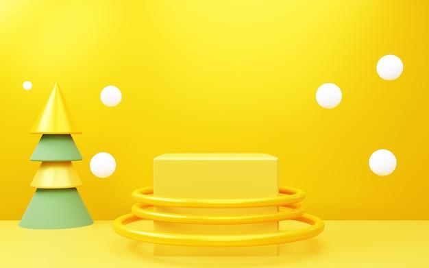 새해 제품 디스플레이 광고를위한 노란색 추상 밝은 배경 장면의 3d 렌더링
