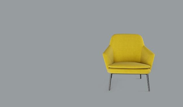 灰色の背景に黄色のアームチェアの3dレンダリング。