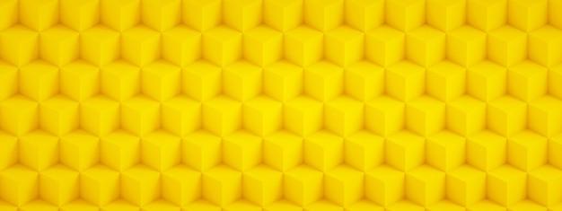 黄色の立方体、幾何学的な背景、パノラマ画像の3dレンダリング