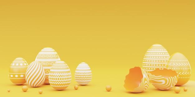 노란색 background.happy 부활절 개념에 노란색 부활절 달걀의 3d 렌더링.