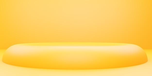 広告デザインのための黄色オレンジ色の抽象的な幾何学的な最小限の背景シーンの3dレンダリング