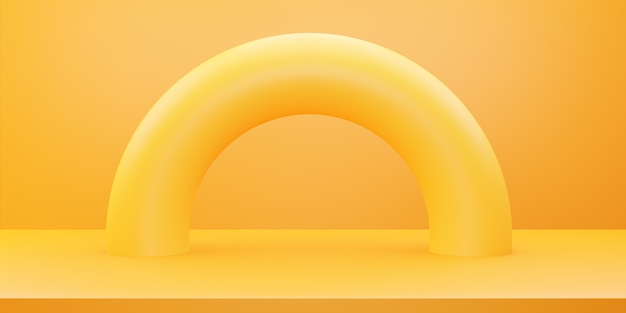 黄色オレンジ色の抽象的な最小限の概念の3dレンダリング