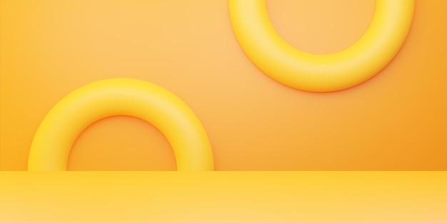 노란색 오렌지 추상 최소한의 개념의 3d 렌더링
