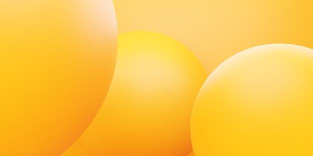 広告デザインのための黄色のオレンジ色の円の抽象的な最小限の背景シーンの3dレンダリング