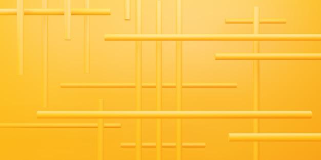 広告デザインのための黄色オレンジ色の幾何学的抽象最小背景シーンの3dレンダリング