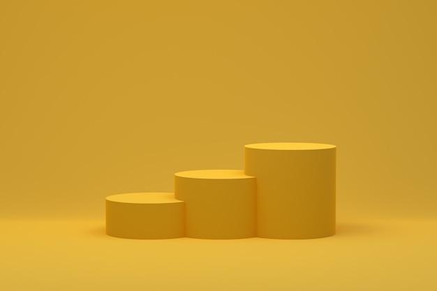 3d-рендеринг желтых подиумов