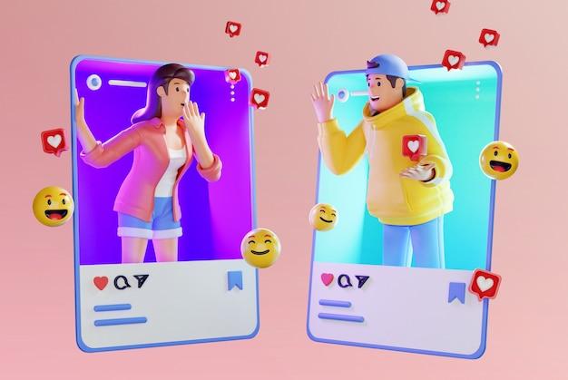 3d-рендеринг молодой пары, увлекающейся социальными сетями