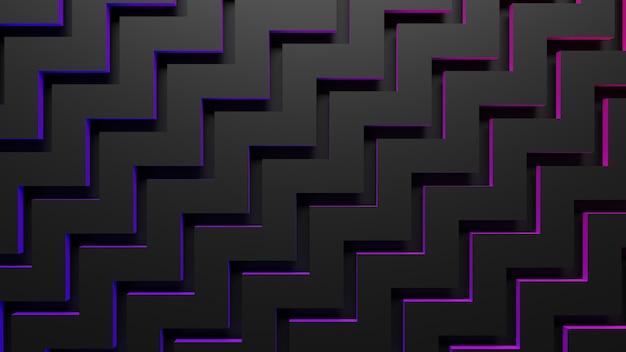 ジグザグの幾何学的背景の3dレンダリング