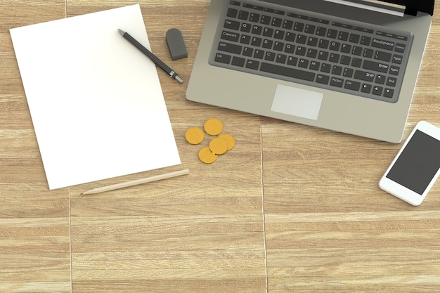 3d rendering office workplace on wooden table
