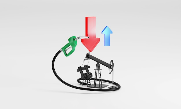 3d rendering  oil prices, arrows showing  down oil pump-jacks