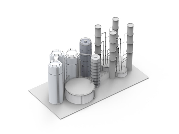 3d rendering oil refinery plant on white background