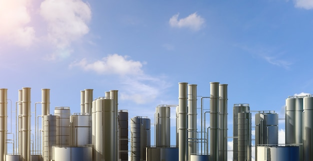 3d rendering oil refinery plant with blue sky background