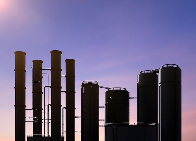 3d rendering oil refinery plant with twilight sky background